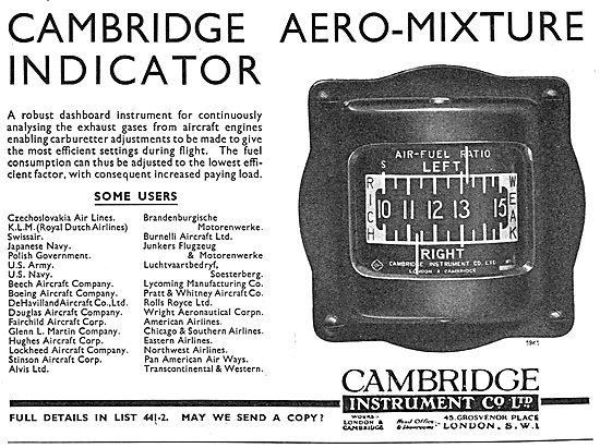 The Cambridge Instrument Co. Aero-Mix Air-Fuel Indicator