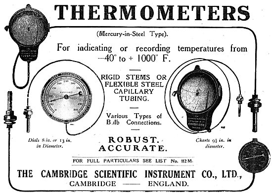 The Cambridge Scientific Instrument Co- Aeroplane Thermometers