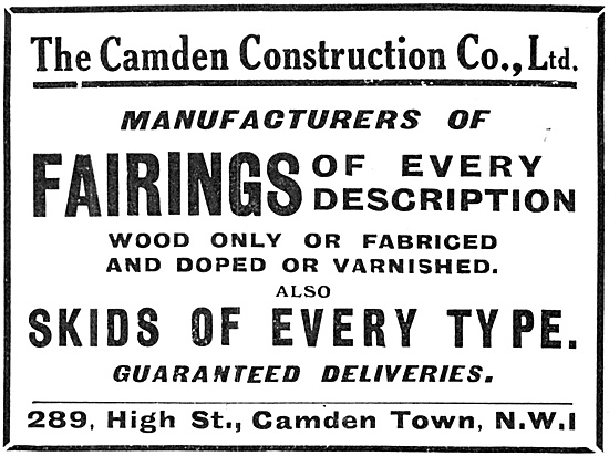 The Camden Construction Company. Wooden Components For Aircraft
