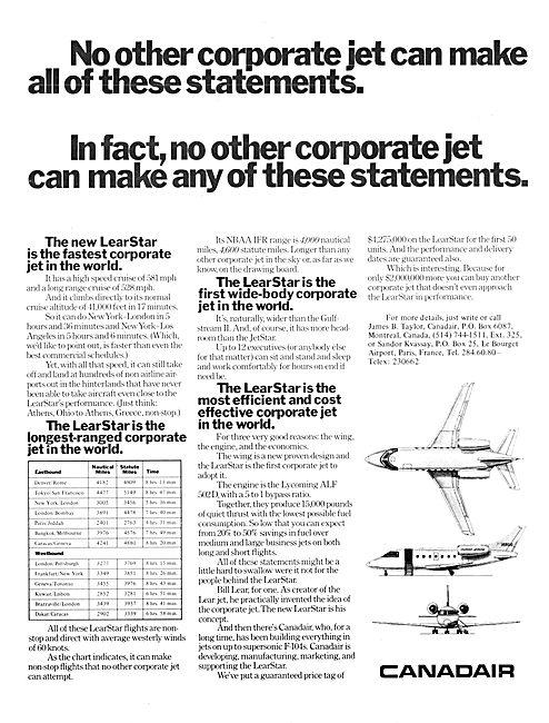Canadair LearStar 1976