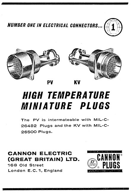 Cannon PV & KV Plugs. Electrical Connectors