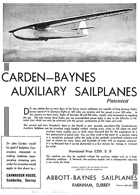 Abbott-Baynes Sailplanes. Carden-Baynes Auxiliary Sailplanes