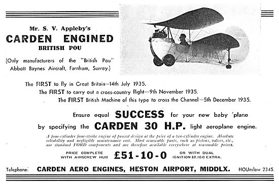 Carden 30 HP Aero Engines: Flying Flea : Pou: Abbott Baynes
