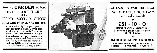Carden 30 HP Light Aircraft Aero Engine.  Flea: Pou
