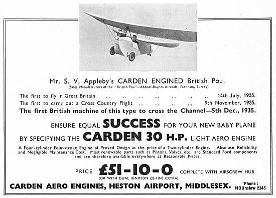 Carden 30 HP Aero Enginess: Flying Flea : Pou