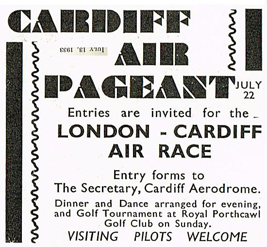 Cardiff Air Pageant  And Air Race 1933
