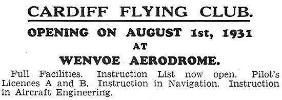 Cardiff Flying Club. Wenvoe Aerodrome. August 1931
