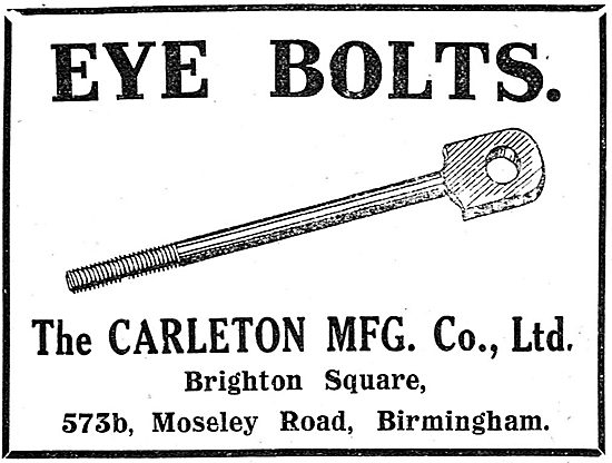 The Carleton MFG Company. Eye Bolts. 573b Moseley Rd. Birmingham