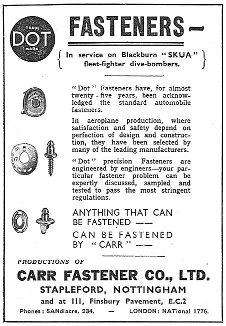 Carr Fasteners. Carr Dot Fasteners 1939
