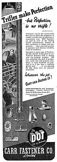 Carr Fasteners  Dot Fasteners. 1943 Advert