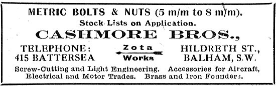 Cashmore Bros. AGS Bolts & Nuts. Zota Works, Balham
