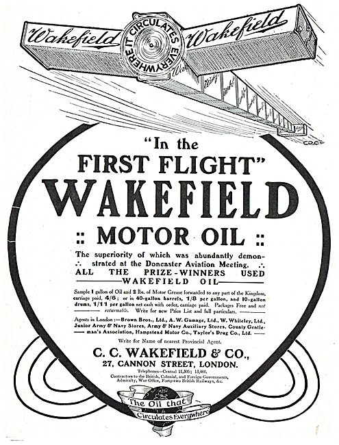 Wakefield Motor Oil Proved Superior At Doncaster Aviation Meeting