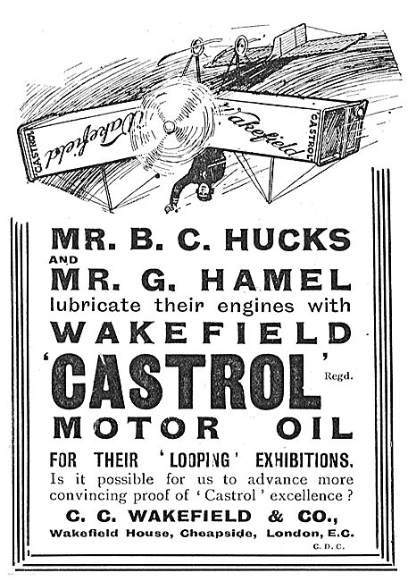 B.C.Hucks & G.Hamel Lubricate Their Engines With Castrol Oil