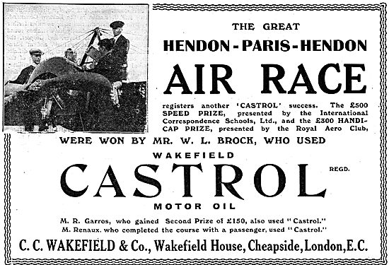 Castrol Success In The Great Hendon - Paris - Hendon Air Race