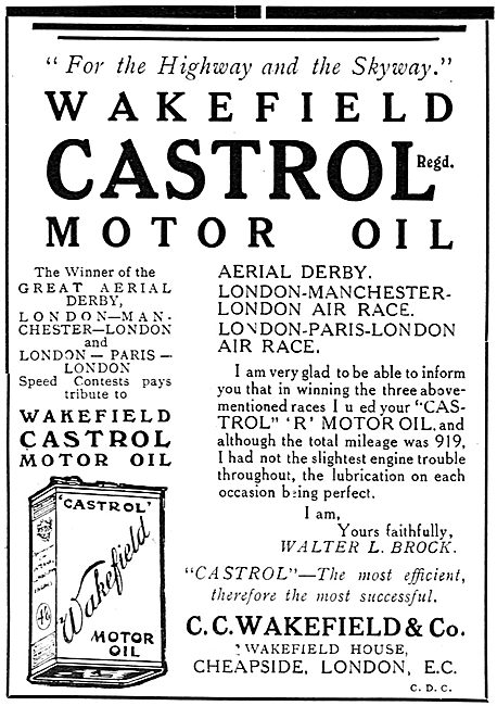 Castrol Oil Success In The London Manchester Air Race