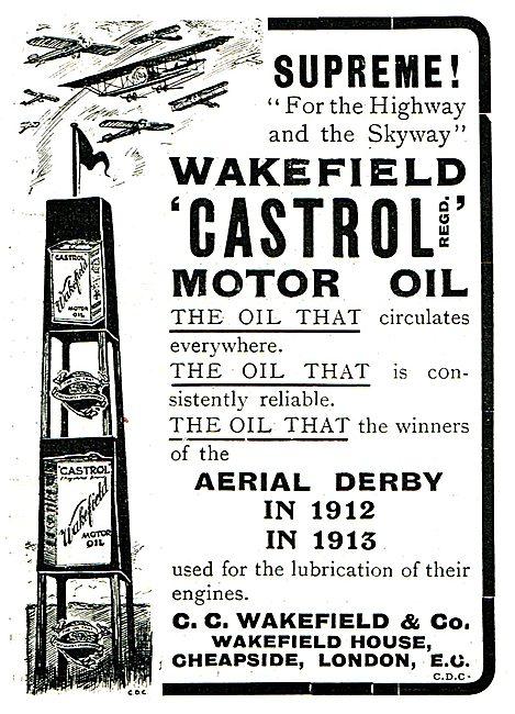 Castrol R Oil For Aero Engines - Winners Aerial Derby 1912 1913