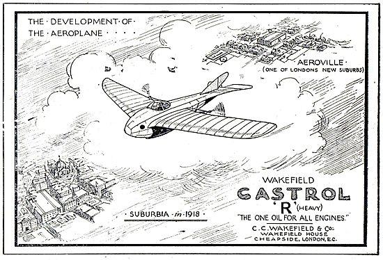 Castrol. The Development Of The Aeroplane, Suburbia 1918
