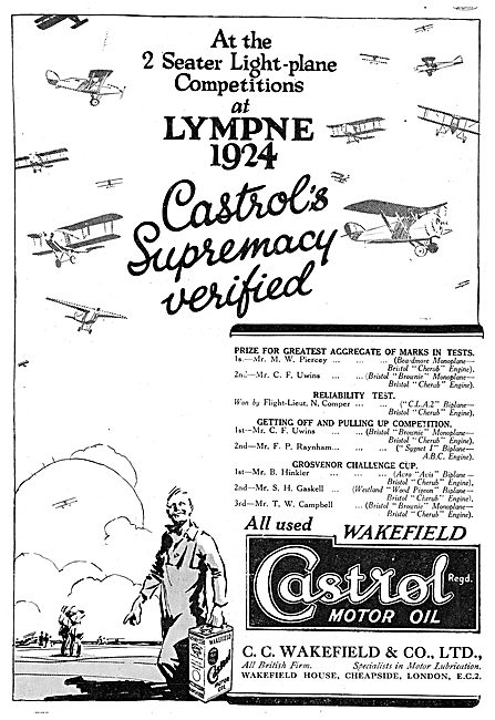 Castrol Aero Engine Oil - Lympne Trials