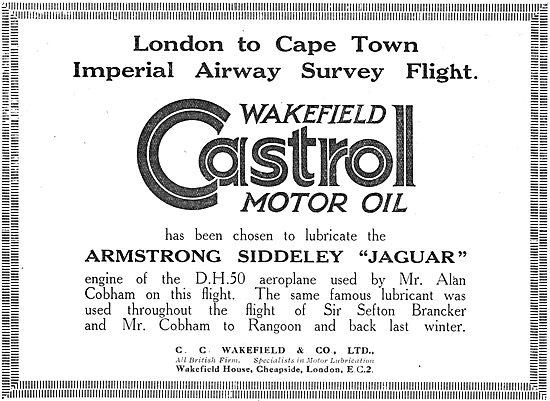 Imperial Airways Chooses Castrol Oils For London Karachi Survey