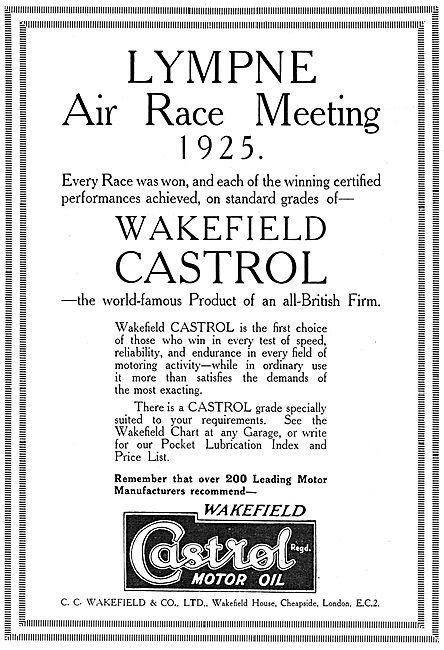 Castrol Oil Wins At The Lympne Air Race Meeting 1925