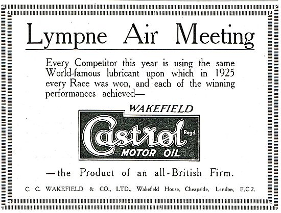 Castrol Oil Used By All Competitors At The Lympne Air Meeting