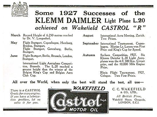 Some 1927 Successes By Klemm Daimler On Castrol Oil