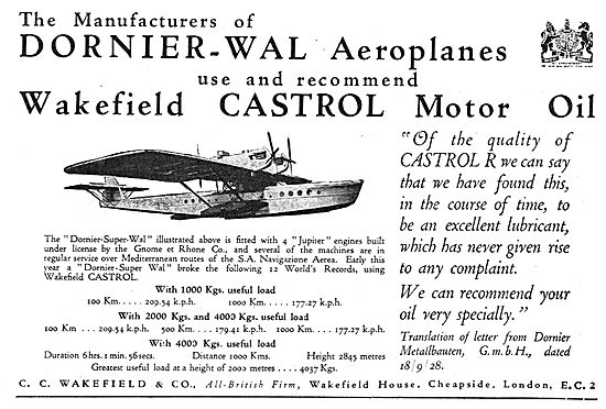 Dornier Recommends Castrol For The Dornier-WAL