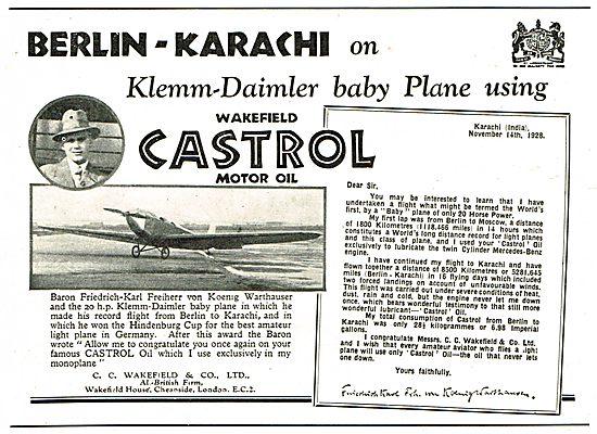 Berlin To Karachi In A Klemm-Daimler On Castrol Oil