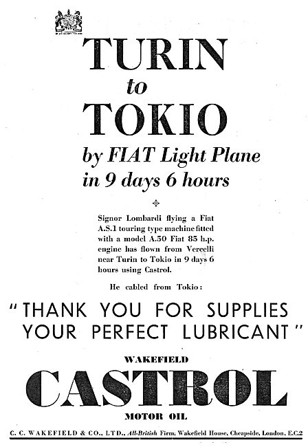 Turin To Tokio In A Fiat  Aeroplane Using Castrol Oil