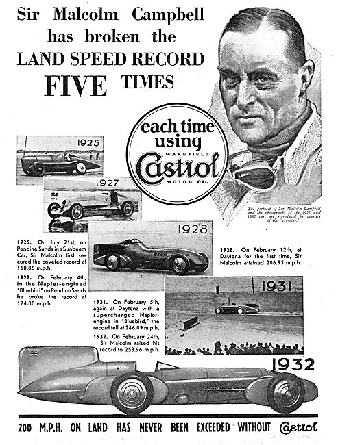 Sir Malcolm Campbell Chose Castrol For Land Speed Records
