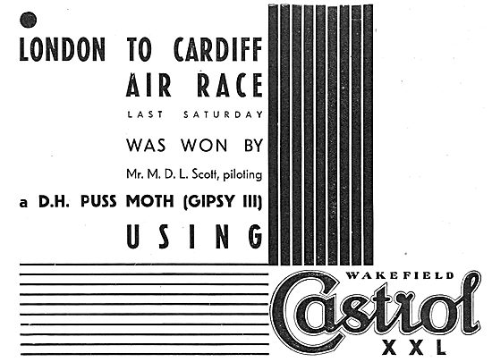 London-Cardiff Air Race Won By D.L.Scott Using Castrol XXL