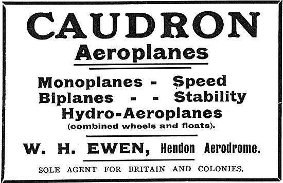 Caudron Hydro-Aeroplanes. Sole Agents W.H.Ewen Hendon