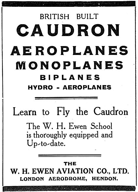Caudron Biplanes & Monoplanes. Sole UK Agents W.H.Ewen