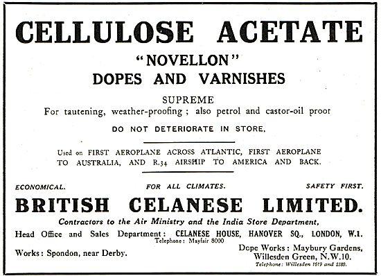 British Celanese Novellon Aeroplane Dopes & Varnishes