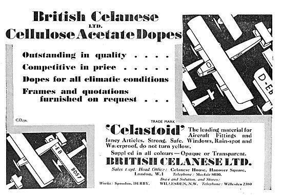 British Celanese Celastoid  Aeroplane Dopes & Varnishes