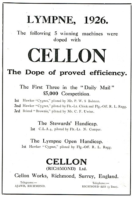 Winners At Lympne Used Cellon Dope