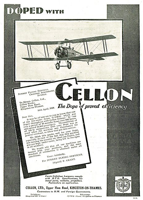 Surrey Flying Services Dope Their Avro's With Cellon