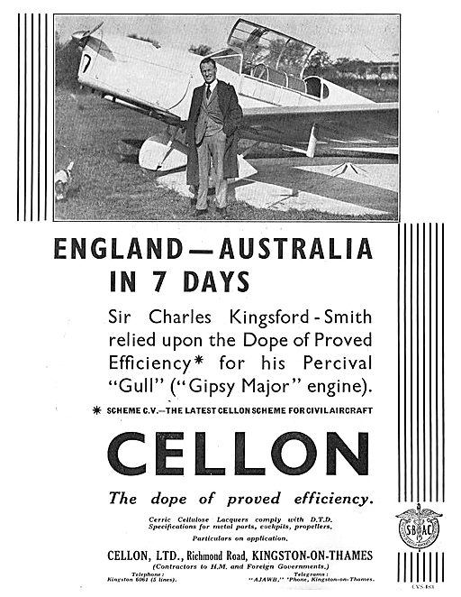 Cellon Kingsford Smith Percival Gull