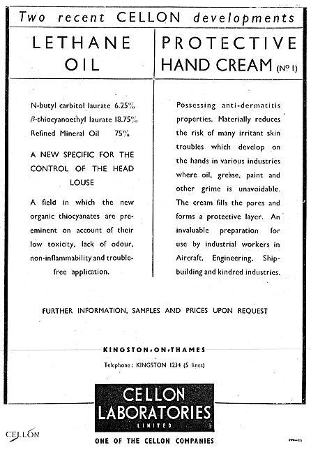 Cellon Industrial Hygeine. Lethane (Head Lice)  Dermatitis Cream