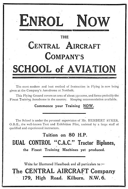 The Central Aircraft Company School Of Aviation Northolt