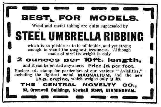 Central Novelty Steel Umbrella Ribbing For Aeroplane Models