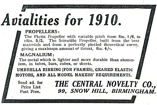 Avialites For 1910. Central Novelty The Model Makers Firm
