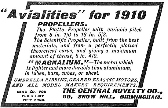 New Avialities For Model Makers In 1910 From Central Novelty
