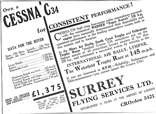 Cessna C34: Surrey Flying Services