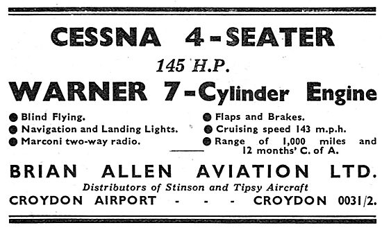 Cessna 145 HP - Warner 7-Cylinder Radial. Brian Allen Aviation
