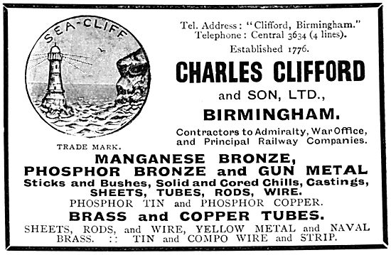Charles Clifford & Son. Copper, Brass Phosphor Bronze Tubes