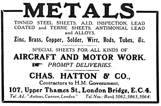Charles Hatton & Co - Metal Suppliers To The Aircraft Industry