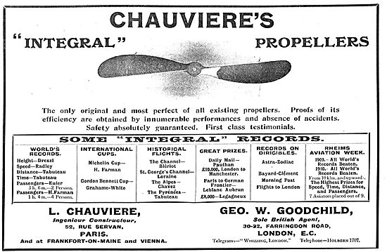 List Of Chauviere's Integral Propellers World's Records