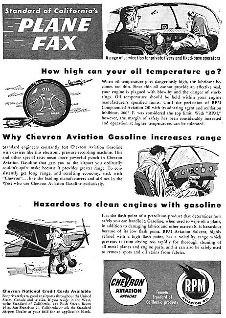 Chevron Aviation Gasoline & RPM Aviation Oil. Plane Fax Series