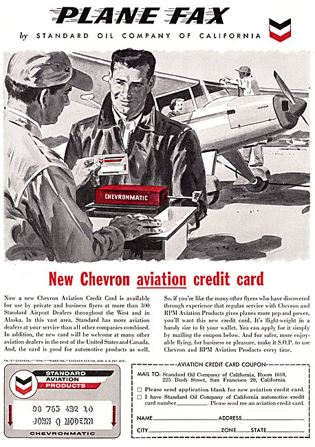 Chevron Aviation Credit Card 1958